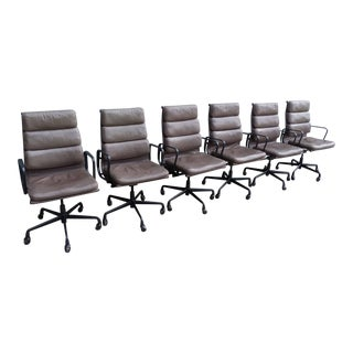Eames for Herman Miller Leather Soft Pad Executive Arm Chairs- Set of 6