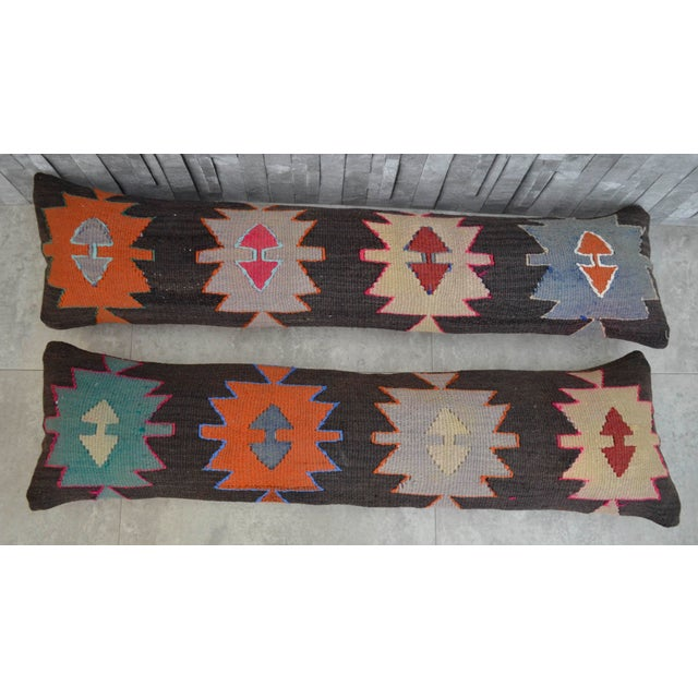 Turkish Kilim Lumbar Pillow Covers - Pair - Image 3 of 5
