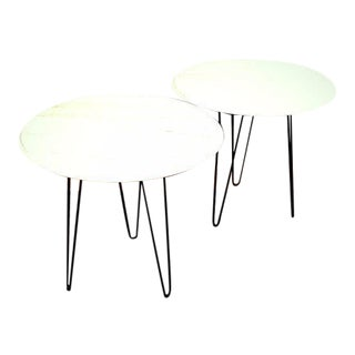 Mid-Century Modern White Marble & Hair Pin Leg Tables - A Pair