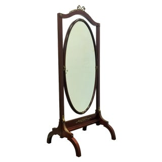 French Empire Mahogany Psyche or Cheval Mirror