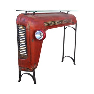 Glass Top Tractor Console or Hall Table