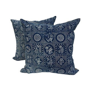 Indigo Batik Patchwork Pillows - Pair