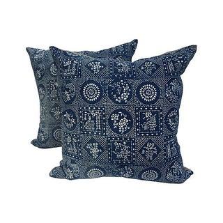Indigo Batik Patchwork Pillows - Pair