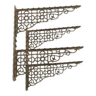 Unusual Antique Department Store Iron Shiftable Shelving Brackets