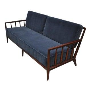 T.H. Robsjohn-Gibbings Open-Arm Sofa in Deep Blue Mohair