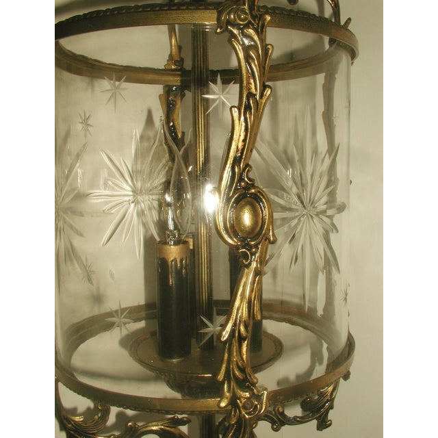 Etched & Rewired German Crystal/Bronze Fixture - Image 10 of 10