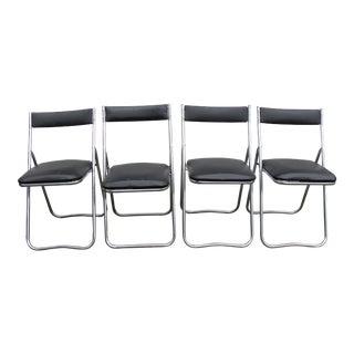 Vintage Mid-Century Modern Chrome Folding Chairs - Set of 4