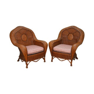 Palecek Woven Rattan Wicker Victorian Style Lounge Chairs - A Pair