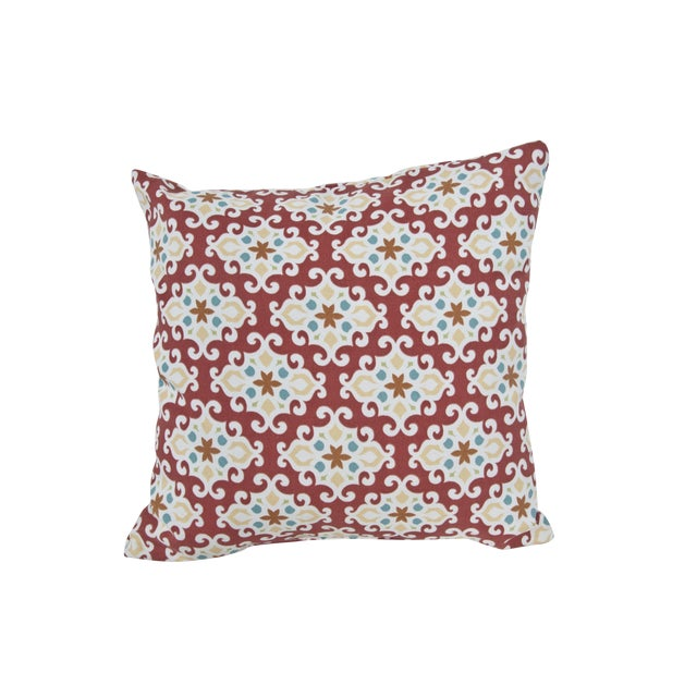 Red Patterned Outdoor Throw Pillow Chairish