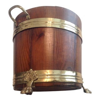 Vintage Wood and Brass Bucket