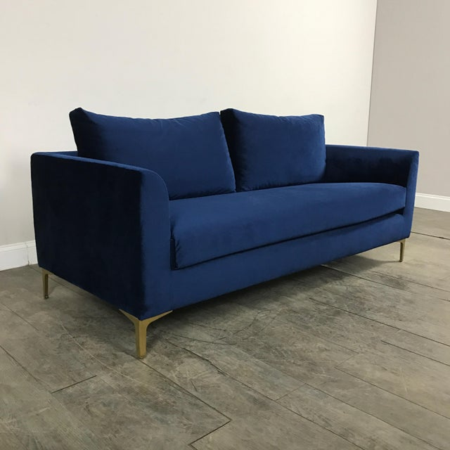 Modern Royal Velvet Navy Blue Sofa - Image 8 of 11