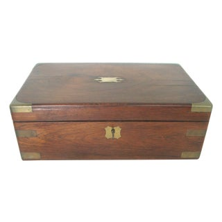 Antique English Walnut Slope Top Deed/ Writing Box