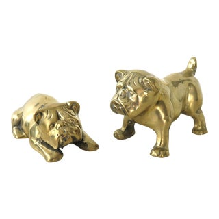 Vintage Brass Bull Dogs - A Pair