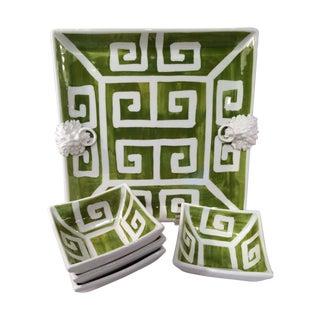 The Manelion Greek Key Ceramic Platter & S/4 Bowls