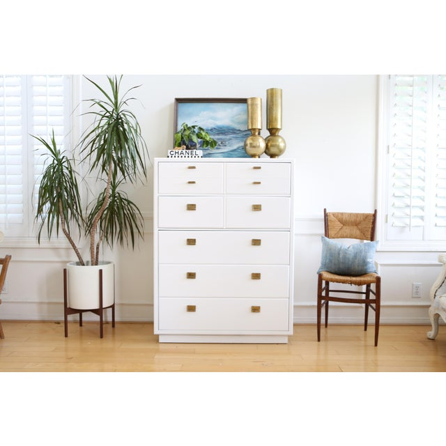 drexel mid century white lacquered campaign dresser chairish. Black Bedroom Furniture Sets. Home Design Ideas
