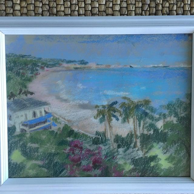 Original Oil Pastel Carribean Coastal Seascape Framed Art - Image 3 of 10