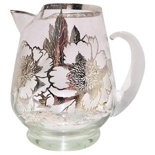 Vintage Dorothy Thorpe Sterling Silver Overlay Floral Pitcher
