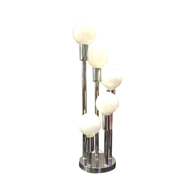 Image of Late Mid-Century Chrome Pillar Lamp