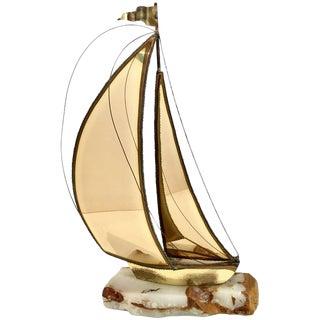 Mid-Century Brutalist Brass Sailboat Sculpture by DeMott