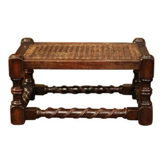 19th Century French Louis XIII Walnut Turned Legs Footstool