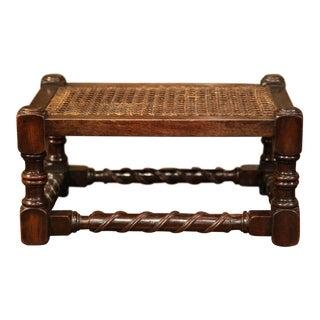 19th Century French Louis XIII Walnut Turned Legs Footstool