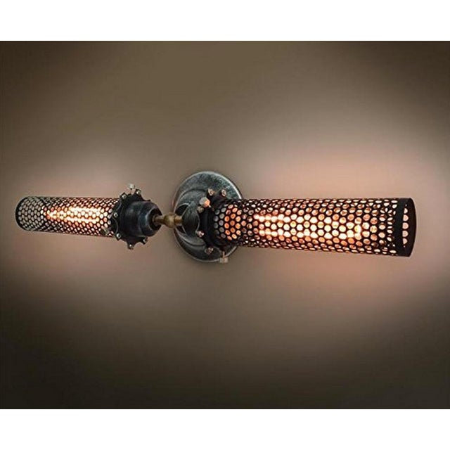 Industrial Double Head Metal Mesh Wall Sconce - Image 4 of 4