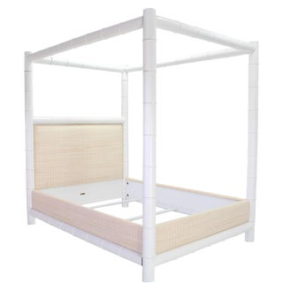White Lacquer Faux Bamboo Canopy Bed Frame by Ralph Lauren Queen