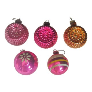 1950's Mid-Century Christmas Ornaments - Set of 5