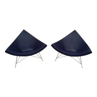 Nelson Blue Leather Coconut Chairs (2) From Vitra Italy
