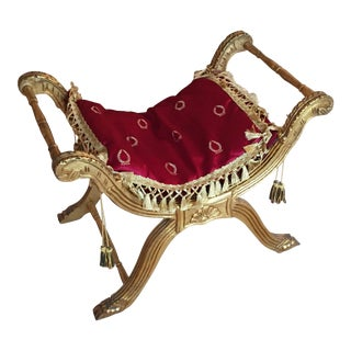 French Gold & Red Tabouret Chair
