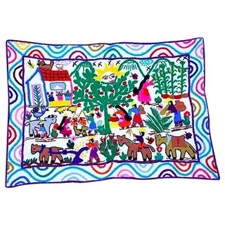 Life In The Village White Embroidery