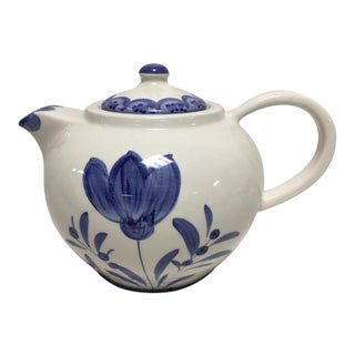 Italian Blue & White Hand Painted Tea Pot