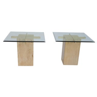 Mid-Century Travertine & Glass End Tables - A Pair