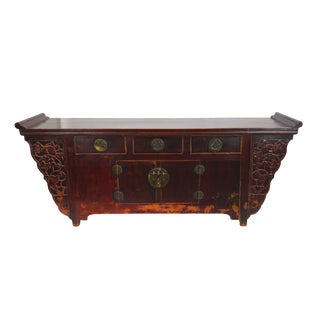 Beijing Red Carved Hardwood Console