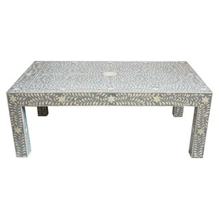 Grey Blue Inlay Coffee Table