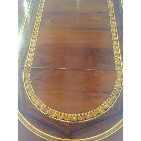 Round to Oval Inlaid Oak Extension Dining Table - Image 4 of 11