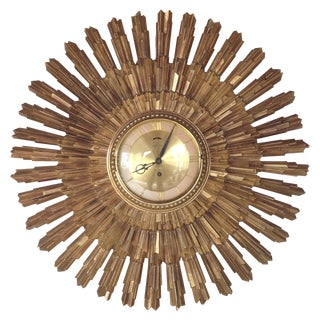 Antique Syroco Large Gold Sunburst Clock