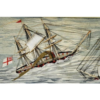 Sailor's Woolwork Woolie of Two Royal Navy Ships in Rough Seas, circa 1865-1875