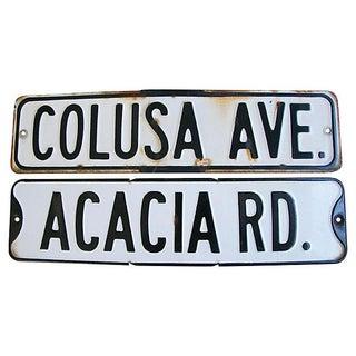 1920s Metal Embossed Street Signs - Set of Two