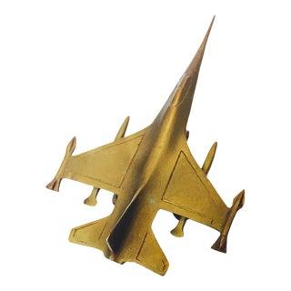 Vintage Brass F16 Fighter Jet