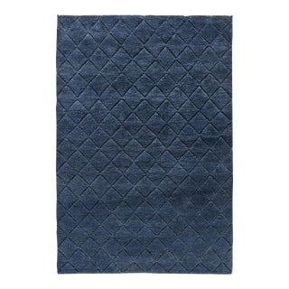 Stark Contemporary Moroccan Blue Wool Rug - 6′ × 9′