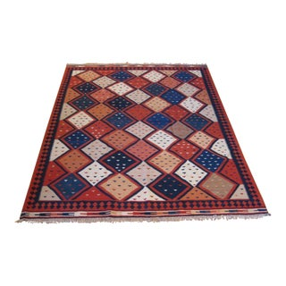 "Hand-Knotted Diamond Pattern Kilim - 7'2"" x 9'8"""