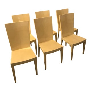 Set of Six Lacquered Goat Skin Karl Springer JMF Side / Dining Chairs