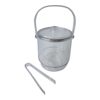 Lucite Ice Bucket & Tongs
