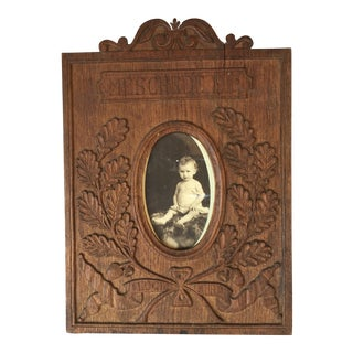 Antique, 1916 Hand Carved Black Forest Frame
