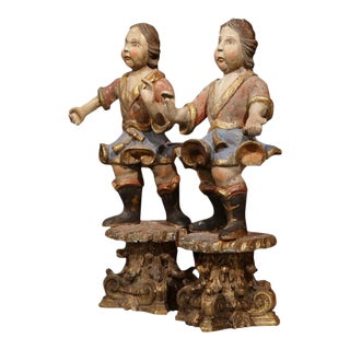 18th Century Italian Carved Polychrome Figures on Wooden Gilded Stands - a Pair