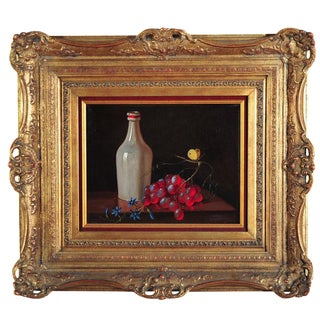 Vintage Grape & Wine Still Life Oil Painting