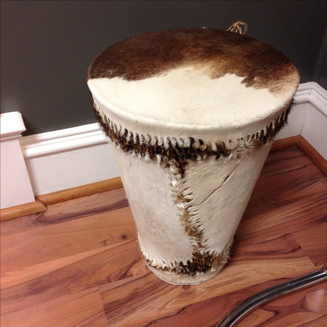 Cowhide Drum Side Table - Image 2 of 7
