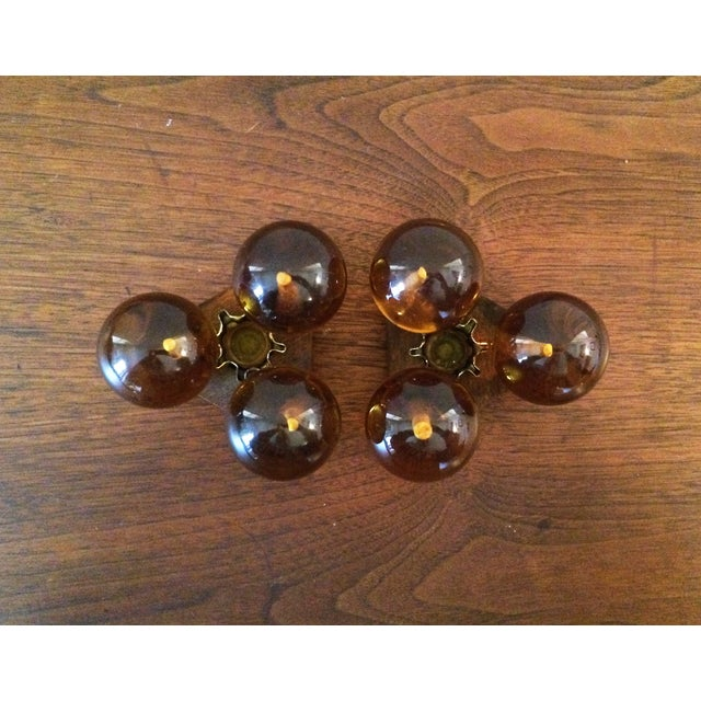 Vintage Amber Resin & Wood Candleholders - A Pair - Image 6 of 7