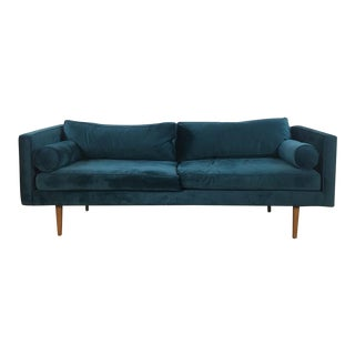 West Elm Blue Velvet Sofa